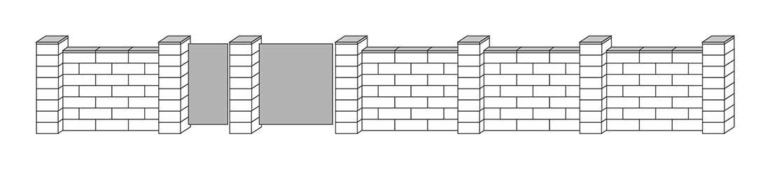 Słupki szerokie w kwadracie, mur pełny na mijankę