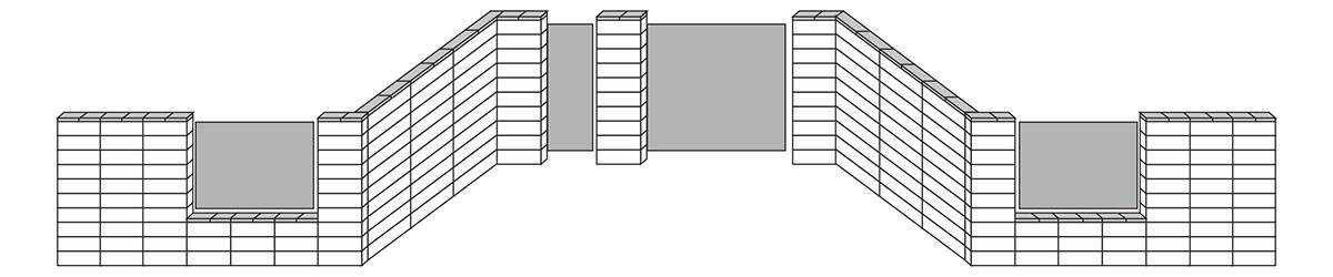 Wszystkie elementy w jednej  grubości (słupki, murki pełne  oraz podmurówka)
